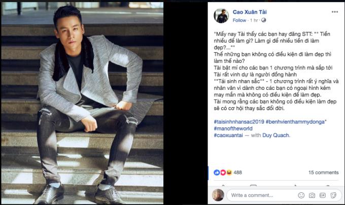 Nam vương Cao Xuân Tài xác nhận trở thành giám khảo của Tái sinh nhan sắc 2019