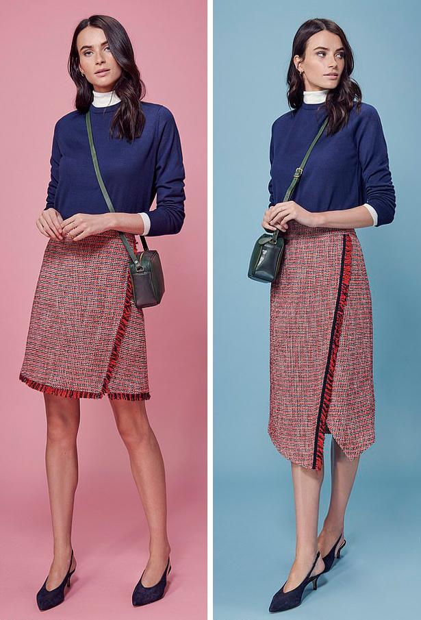 Khác những kiểu váy midi đơn giản thường thấy, thiết kế đắp vạt độc đáo mang lại vẻ thời thượng không kém váy ngắn, đồng thời giúp che đi đầu gối nếu bạn không tự tin về điểm này của cơ thể.
