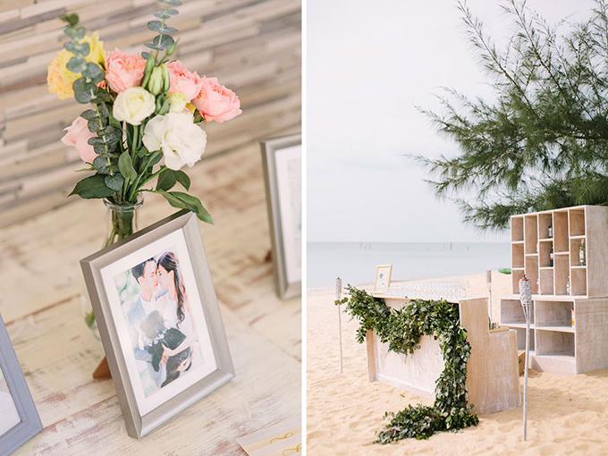 Không gian tiếp đón khách bên ngoài sử dụng nội thất mang xu hướng tối giản và được trang trí bởi ảnh cưới của cặp vợ chồng.