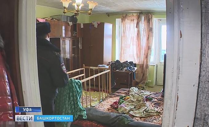 Phòng ngủ nơi bà mẹ 21 tuổi ở Ufa, Nga ném con gái 2 tuổi. Ảnh: GTRK.tv.
