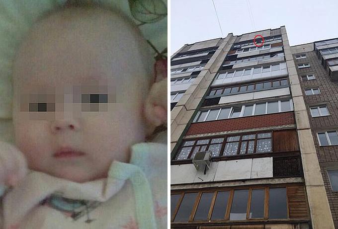 Bé gái người Nga bị mẹ ném từ căn hộ tầng 9 ở Ufa. Ảnh: vk.