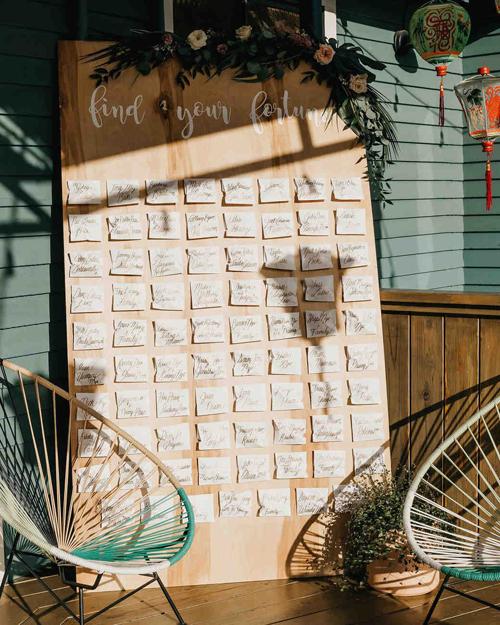 Uyên ương tiếp tục thay thế chất liệu giấy ở bảng thông báo vị trí chỗ ngồi bằng... bánh quy. Những cái tên được viết lên bánh bằng màu thực phẩm và trở thành món quà độc đáo cho khách mời.