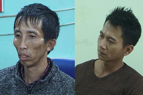 Công (trái) và Vương Văn Hùng tại cơ quan điều tra. Ảnh: Công an.