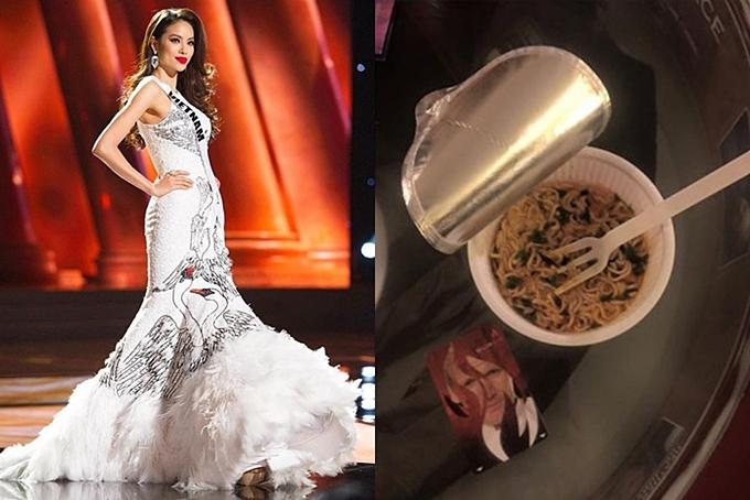 Hoa hậu Phạm Hương từng khiến khán giả và fans xót xa khi ăn tạm ly mỳ gói sau khi kết thúc hai đêm thi bán kết và trang phục truyền thống tại Miss Universe 2015.