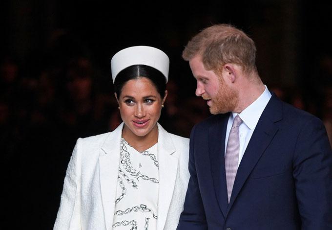 Vợ chồng Meghan tham dự ngày kỷ niệm của Khối thịnh vượng chung hôm 11/3 tại Tu viện Wesminster. Ảnh: Reuters.