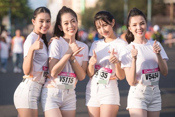 Các người đẹp Tiểu Vy, Phương Nga, Thùy Tiên và Huỳnh Thúy Vi tham gia đường chạy 5m, sau đó cùng nhau cổ vũ các vận động viên khác. Sự cố gắng của họ giúp đường chạy thêm sôi động, quyết liệt.