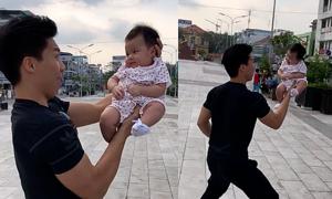 Quốc Nghiệp diễn xiếc cùng con gái 3 tháng tuổi