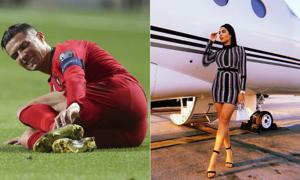 Bạn gái đi máy bay riêng tới sân trong ngày C. Ronaldo dính chấn thương