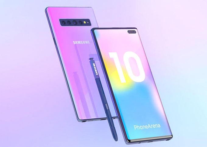 Galaxy Note 10 thiết kế không phím vật lý