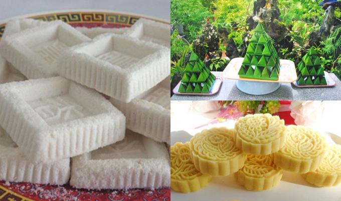 Bánh in, bánh ít lá dừa, bánh đậu xanh được chọn lựa để thết đãi khách mời trong tiệc ngọt lễ vu quy