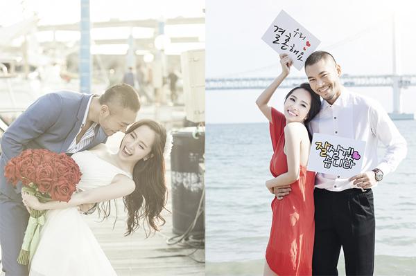 Họ cùng nhausang Busan, Hàn Quốc chụp bộ ảnh cưỡi lãng mạn trước khi cử hànhhôn lễ.