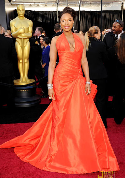 Jennifer Hudson, 2011 Jennifer Hudson flaunted her incredible slimmed down form in this va-va-voom Versace tangerine orange dress. Oh my god I cant sleep at night, she gushed on the red carpet. When I first tried on the dress I didnt want to take it off!