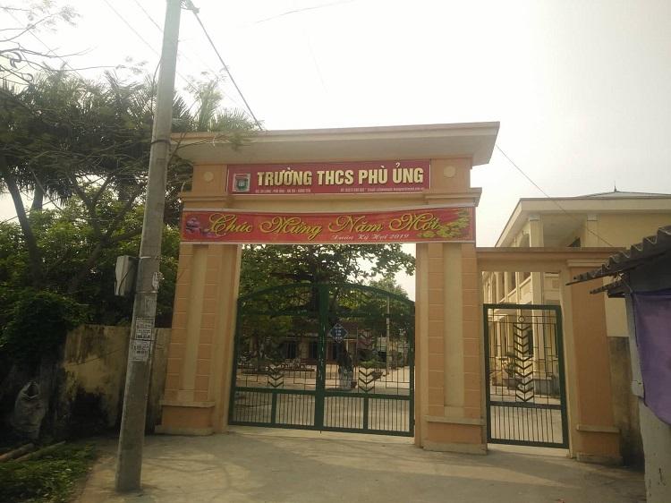 Trường THCS Phù Ủng, nơi xảy ra sự việc.