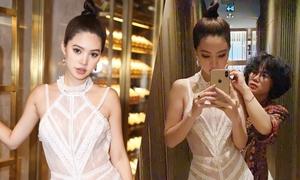 Hoa hậu Jolie Nguyễn sửa váy ngay tại event vì quá gầy