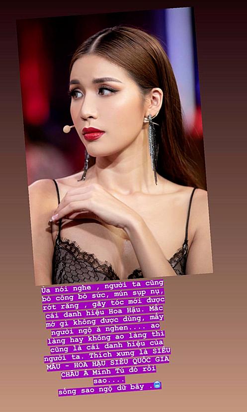 Minh Tú đáp trả anti-fan khi không được công nhận là Hoa hậu.