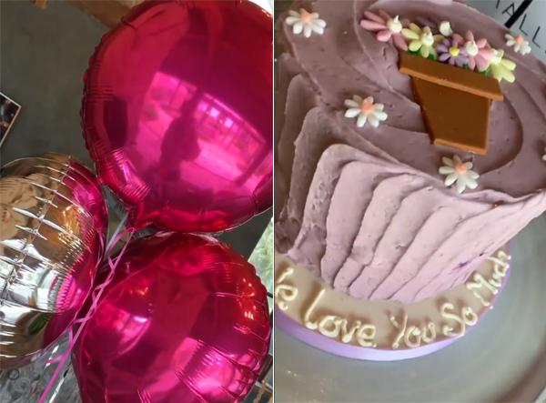 Cựu ca sĩ nhạc pop cũng đăng video khoe những món quà mang tông hồng ngọt ngào chồng con tặng gồm bóng bay, bánh