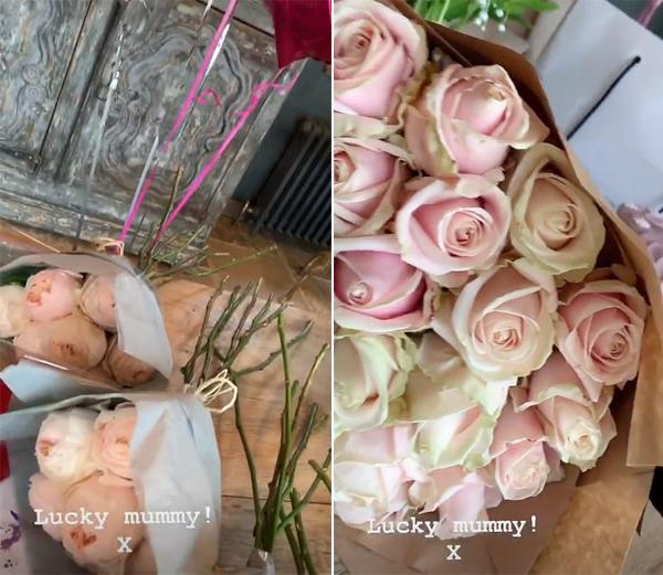 Bà Becks nhận được 4 bó hoa mẫu đơn từ các con cùng bó hồng