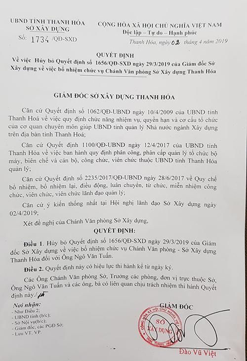 Quyết định cho thôi chức Chánh văn phòng Sở Xây dựng đối với ông Tuấn.