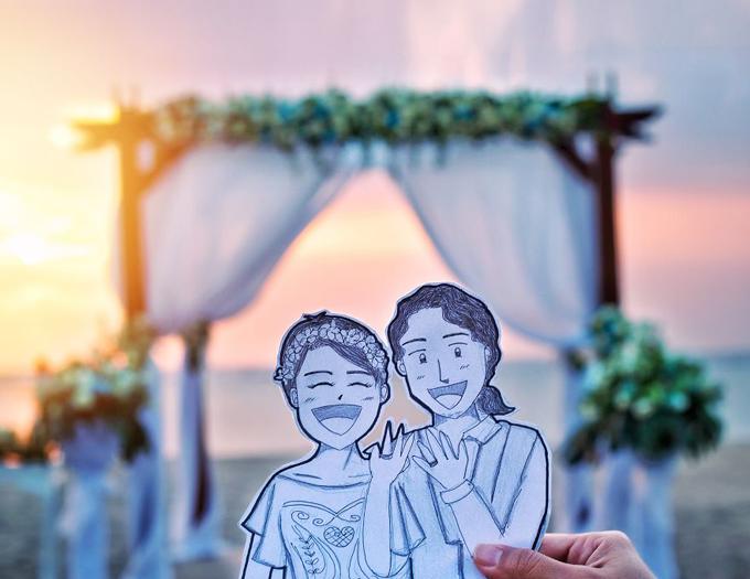 Sau 5 năm hẹn hò, Abang và Neng đã nên duyên vợ chồng ở biển Bali. Tuy nhiên, thay vì chụp hình cưới như thông thường, cặp vợ chồng đã dùng hình vẽ chibi để biểu lộ cảm xúc. Tấm ảnh được uyên ương chú thích: Cuối cùng cũng kết hôn rồi!