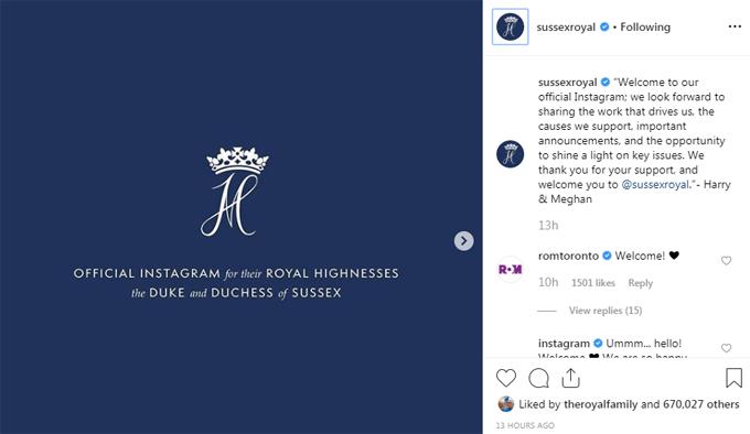 Bài đăng đầu tiên của vợ chồng Harry - Meghan trên trang Instagram chính thức.