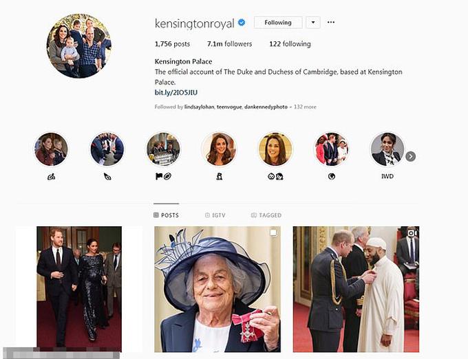 Trang Instagram của Điện Kensington.