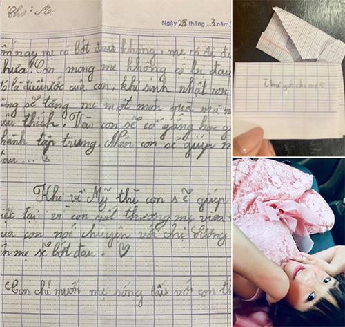 Bức thư tay của Nguyệt Cát viết hỏi thăm mẹ bị tai nạn.