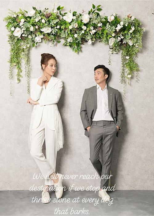 Cường Đô La khoe hình chụp cưới với Đàm Thu Trang.