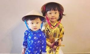 Sao TVB cho các con mặc áo dài, đội nón lá
