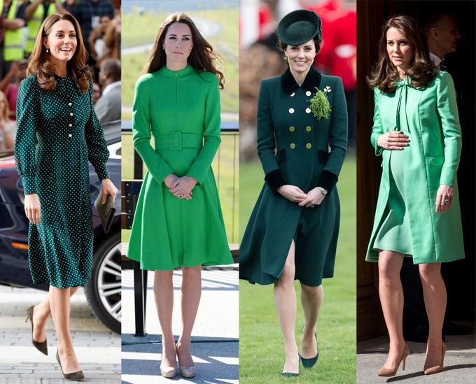 Vợ Hoàng tử William là fan trung thành của váy áo xanh lá.
