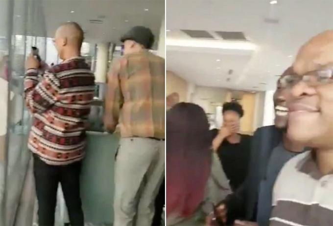 Nhóm nhân viên văn phòng theo dõi và quay phim cặp nam nữ làm chuyện ấy từ tòa nhà đối diện ở Johannesburg, Nam Phi. Ảnh: Twitter.