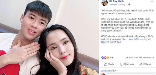 Duy Mạnh -Quỳnh Anh khoe khéo đôi nhẫn cưới gắn kim cương 99 giác cắt của thương hiệu Wedding Land.