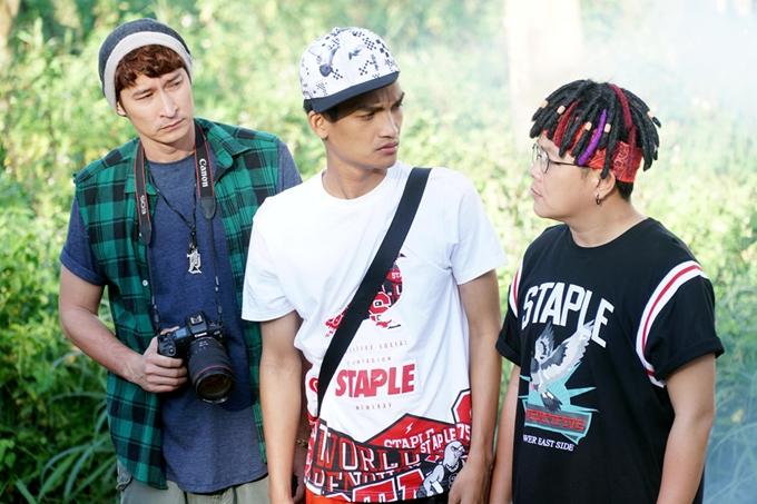 Huy Khánh, Mạc Văn Khoa và Hoàng Mèo (từ trái qua) trở thành bộ ba hài hước của phim.