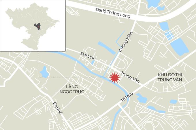 Vị trí xảy ra cháy ở phường Trung Văn (Nam Từ Liêm, Hà Nội) sáng 12/4. Đồ họa: Tiến Thành.