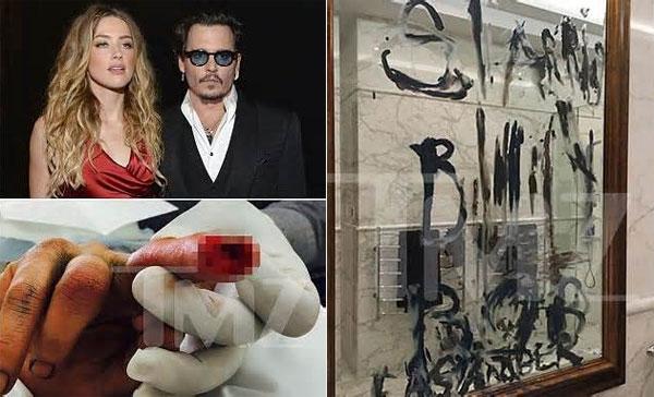 Amber bị cứa đứt ngón tay trong cuộc cãi vã, dùng máu và dầu viết chữ khắp nhà, trong đó có tên Billy Bob Thornton - bạn diễn của Amber Heard.