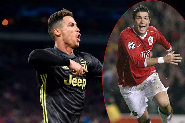Bàn thắng thứ 125 tại Champions League của C. Ronaldo cách 12 năm sau bàn thắng đầu tiên khi CR7 còn khoác áo MU ghi bàn vào lưới Roma