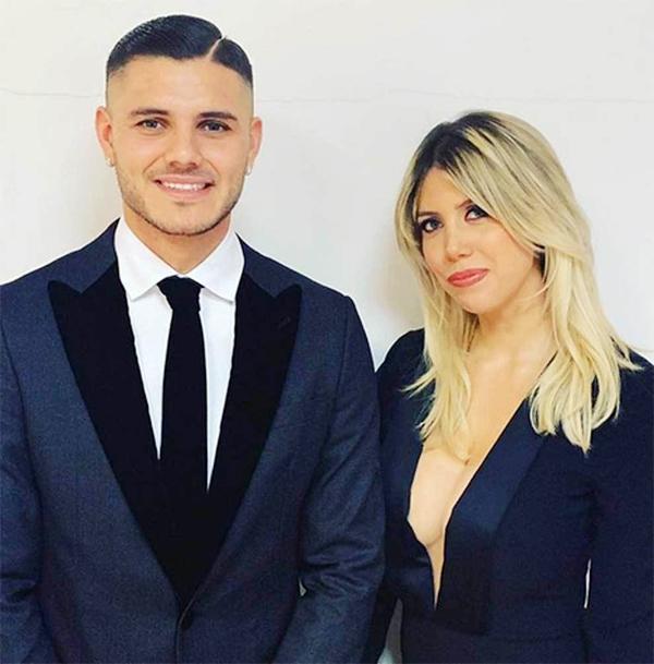 Tiền đạo Mauro Icardi bên cô vợ kiêm người đại diện Wanda Nara.