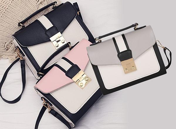 Điểm nổi bật của túi xách Vanoca VN140 là sự phối hợp các màu cá tính,  trẻ trung như nude, đen, xám... Phần khoá túi thiết kế nút bấm mạ vàng  sang trọng. Giá 149.000 đồng.