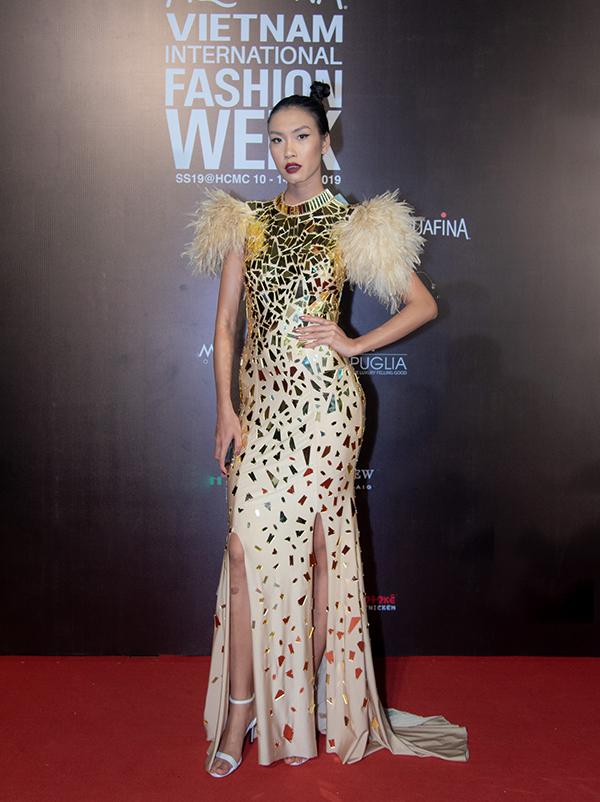 Nguyễn Oanh nổi bật với bộ cánh sử dụng chất liệu bắt sáng trang trí trên toàn thân váy xẻ cao.