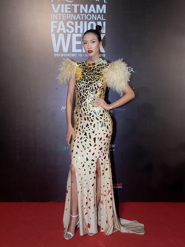 Nguyễn Oanh với váy dạ hội tham lam nhiều chi tiết nhưđính lông vũ, trang trí phụ liệu phản quang và đường cắt may chưa mấy tinh tế.