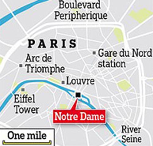 Vị tri nhà thờ Đức Bà (màu đỏ) ở thủ đô Paris.
