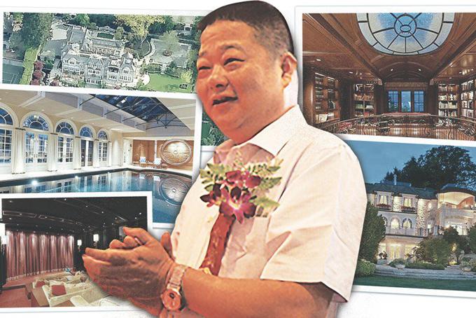 Doanh nhân Chen Mailin và những bức ảnh về biệt thự rộng của ông tại Vancouver. Ảnh: SCMP.