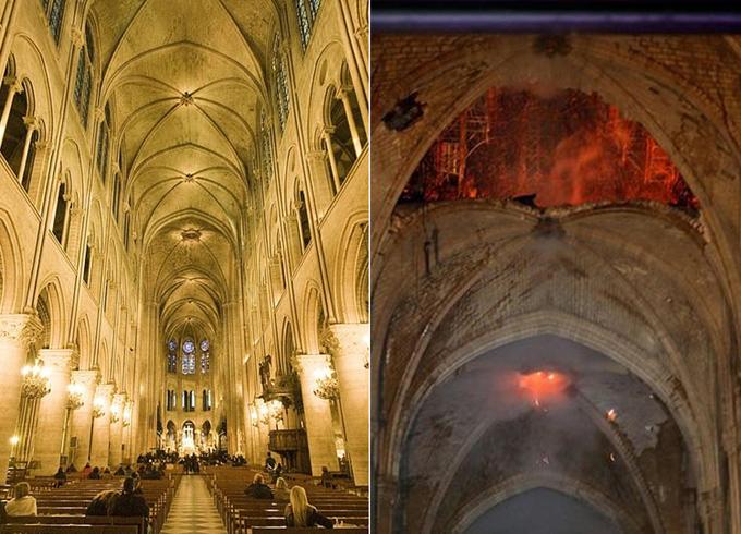 Đám cháy gần như thiêu rụi phần mái vòm, làm đổ sập tháp chuông chính. Trong ảnh, phần mái vòm bằng đá cao hàng chục mét còn nguyên vẹn trước khi bị cháy (trái) và bị phá hủy một phần sau khi bị lửa nhấn chìm (phải).