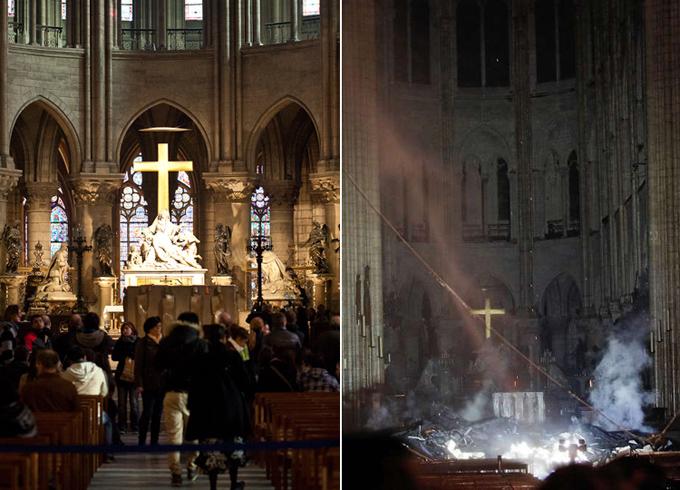Vụ hỏa hoạn đã được khống chế và ngăn chặn lan sang khu vực phía bắc sau nhiều giờ dập lửa. Phần lớn nội thất tòa nhà đã bị phá hủy, tuy nhiên khu vực bàn thờ và thánh giá vẫn nguyên vẹn.