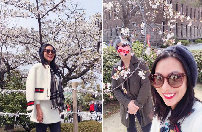 Khánh Ngọc lại tới Osaka ngắm hoa với bạn trai giấu mặt. Hai người chụp ảnh tình tứ trước lâu đài Osaka cổ kính. Nữ ca sĩ ngây ngất: Mùa xuân sang có hoa anh đào. Và em thì có anh.