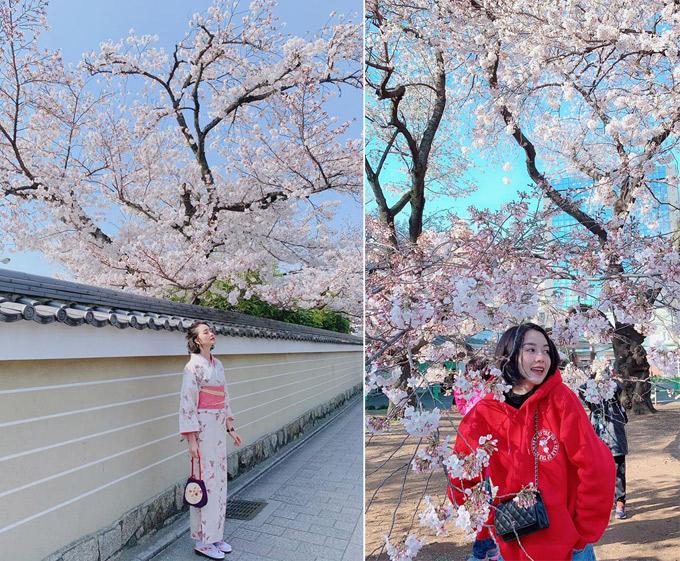 Thiều Bảo Trang vừa có chuyến đi qua cung đường vàng du lịch ở Nhật là Tokyo - Kyoto - Osaka đúng vào thời điểm hoa anh đào nở đẹp nhất trong năm. Điểm dừng chân đầu tiên là thủ đô Tokyo trong thời tiết lạnh chỉ khoảng 9 độ C. Thực sự đẹp lắm lắm, hoa đào đang nở trắng xoá trời Tokyo.Muốn rưng nguyên cái vườn cây khổng lồ về nhà, nữ ca sĩ phấn khích. Sau đó, Thiều Bảo Trang bắt chuyến tàu siêu tốcShinkansenđến cố đôKyoto. Tại đây, người đẹp hóa thân thành thiếu nữ Nhật Bản, khoác lên mình bộ kimono, dạo bước trong ngôi chùa cổ kính.