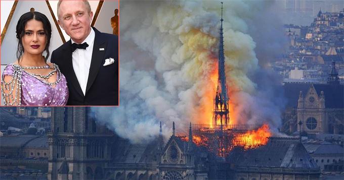 Salma Hayek và chồng đau lòng trước cảnh Notre-Dame bị thiêu rụi.