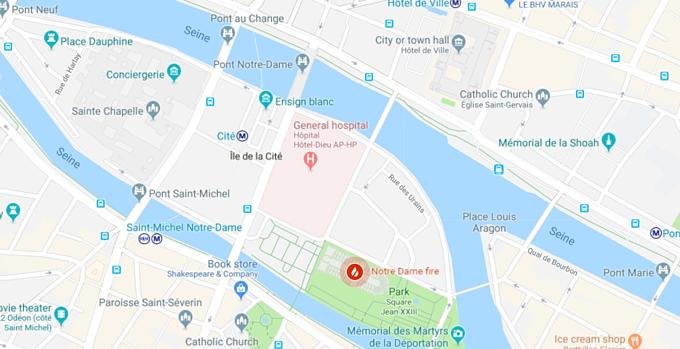 Đám cháy Nhà thờ Đức Bà Paris ngày 15/4 (biểu tượng lửa đỏ) trên đảo Île de la Cité, nằm giữa hai bờ sông Seine (hai bờ Paris). Ảnh: Google Maps.