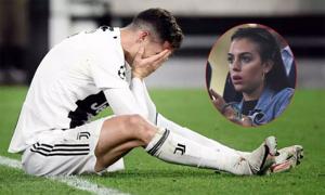 Bạn gái ngỡ ngàng, C. Ronaldo ôm mặt khi Juventus thua Ajax