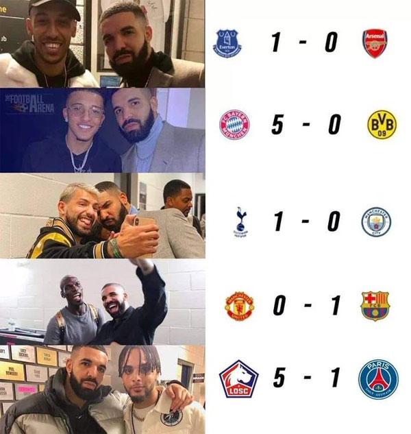 Drake mang vận xui cho Arsenal, MU, Dortmund, Man City, PSG khi chụp ảnh cùng các sao của đội. Ảnh: Twitter.