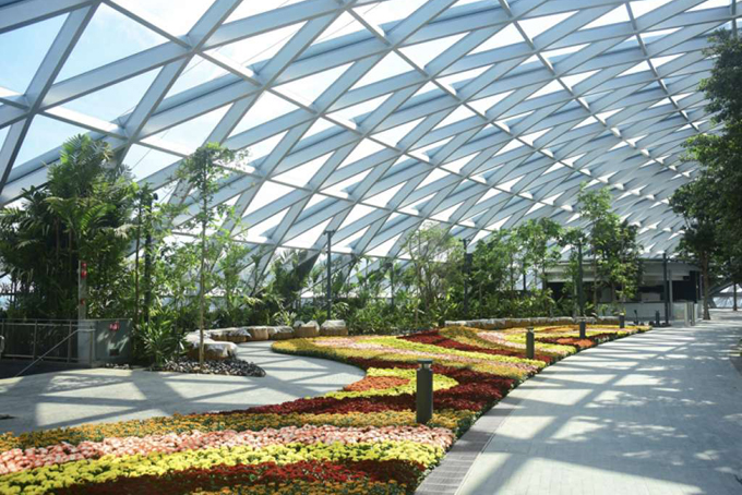 Các thảm hoa trải rợp các lối đi của khu vui chơi giải trí Jewel với nhiều loại hoa đặc trưng của xứ sở nhiệt đới.